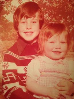 Me and my brother, with that classic 1970s coloring of KMart style photos. #Stylin