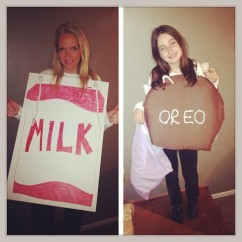 Milk and cookies were easier than peas and carrots. #Halloween