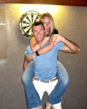 Having fun with Mark. I love dive bars and darts.
